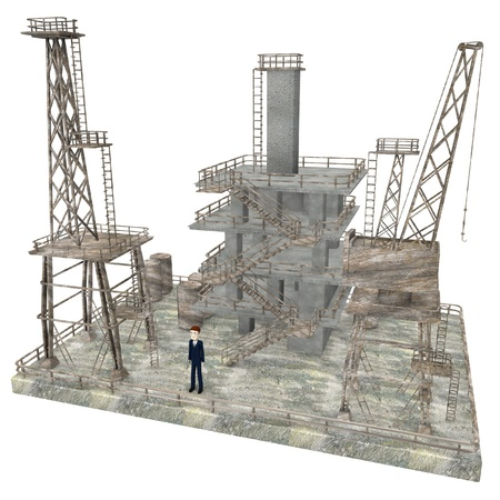 3d render of cartoon character on drilling rig photo