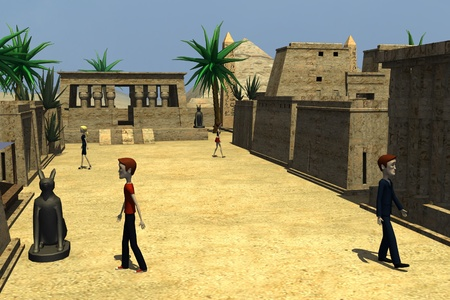 3d render of cartoon characters on egypt town photo