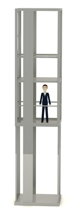 3d render of cartoon character in elevator photo