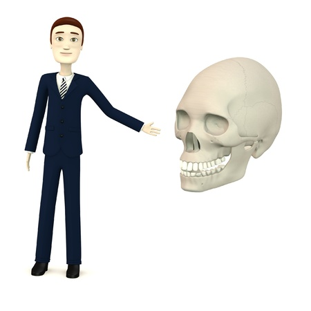 3d render of cartoon character with female skull photo
