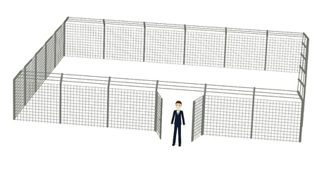 3d render of cartoon character with fence photo