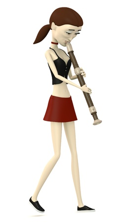 3d render of cartoon character playing on flute photo