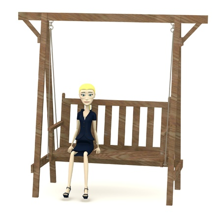 3d render of cartoon character on swing photo