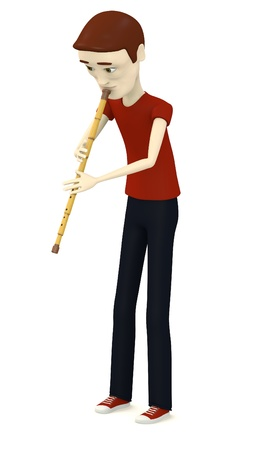 3d render of cartoon character playing on indian flute photo