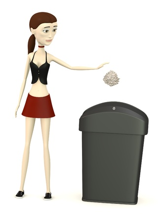 3d render of cartoon character with garbage photo