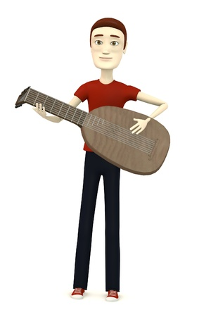 lute: 3d render of cartoon character with lute