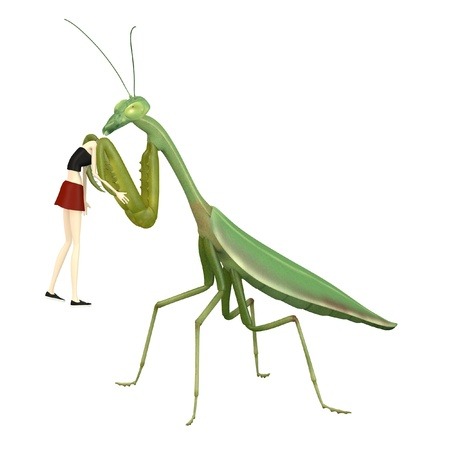 eaten: 3d render of cartoon character eaten by mantis