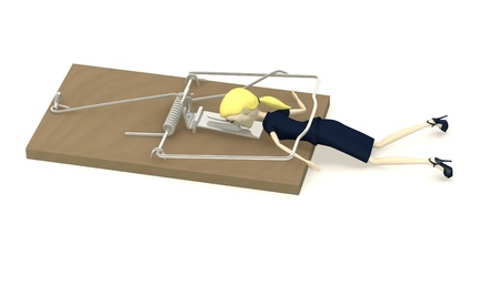 mousetrap: 3d render of cartoon character killed by mousetrap