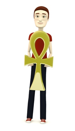 figourine: 3d render of cartoon character with ankh