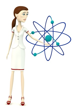 cartoon atom: 3d render of cartoon character with atom Stock Photo