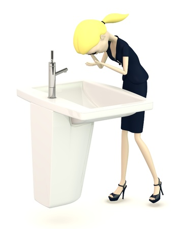 hygene: 3d render of cartoon character with basin Stock Photo
