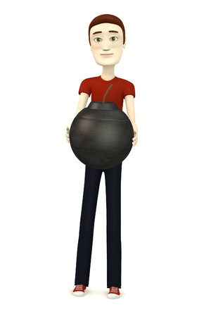 3d render of cartoon character with bomb photo