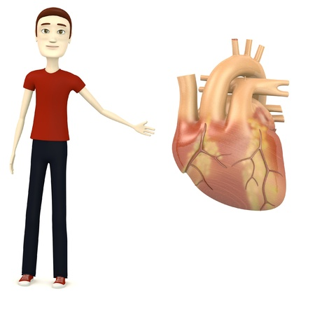 3d render of cartoon character with human heart Stock Photo - 18148641