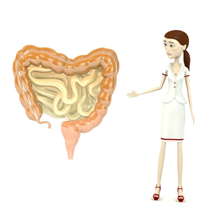 3d render of cartoon character with intestines Stock Photo - 18164467