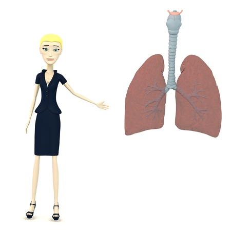 3d render of cartoon character with lungs photo