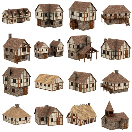 collection of medieval houses - 3d Stockfoto