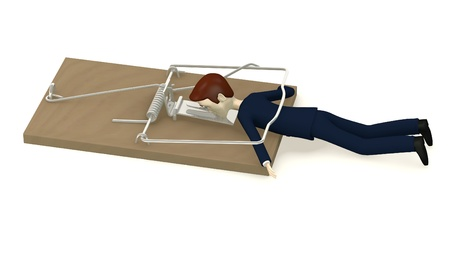 mouse trap: 3d render of cartoon character killed by mousetrap
