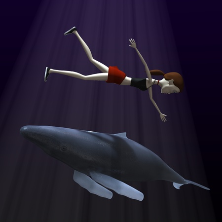 3d render of cartoon character with whale photo