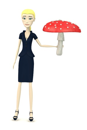 3d render of cartoon character with amanita muscaria photo