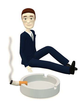 ashtray: 3d render of cartoon character with ashtray and cigarette Stock Photo