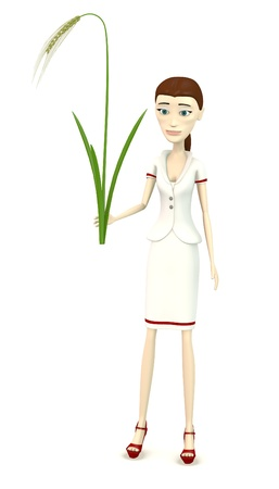 stalk: 3d render of cartoon character with barley stalk