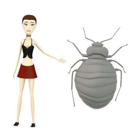 bedbug: 3d render of cartoon character with bedbug