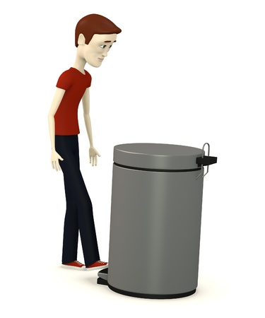 3d render of cartoon character with bin photo