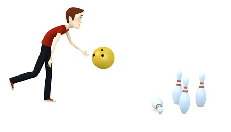 3d render of cartoon character bowling photo