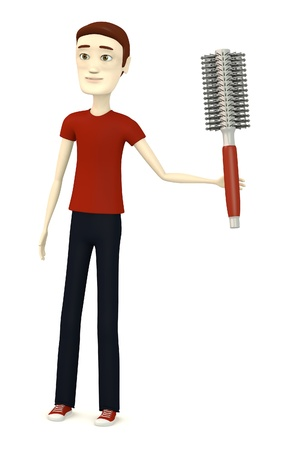 hairbrush: 3d render of cartoon character with hairbrush