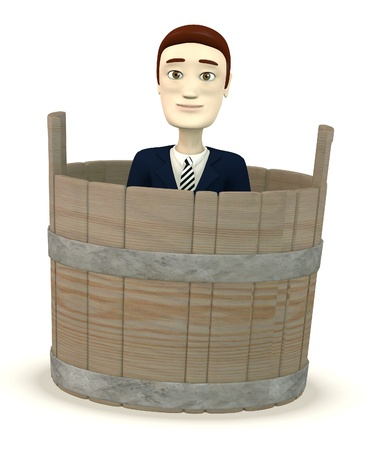 3d render of cartoon character in bucket photo