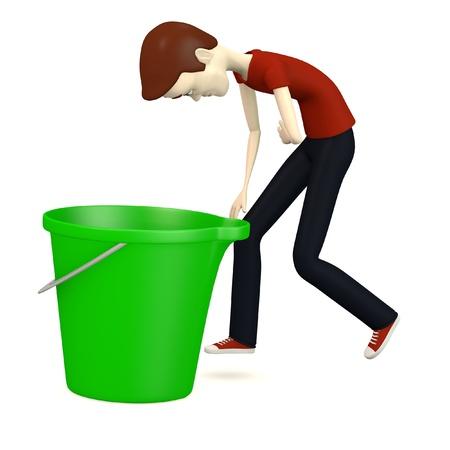 3d render of cartoon character with bucket Stock Photo - 18271860