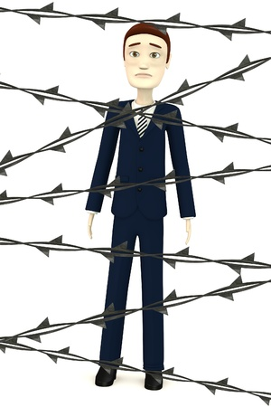 3d render of cartoon character with barbed wire photo
