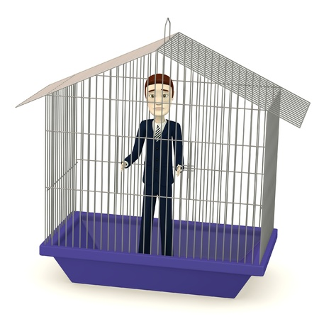 3d render of cartoon businessman in cage Stock Photo - 18272372