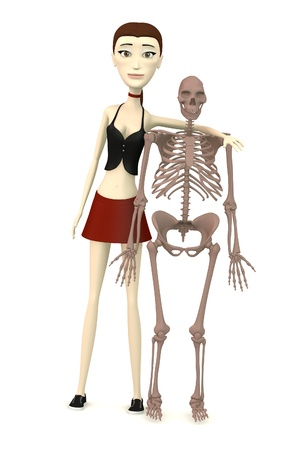 erectus: 3d rinden de personaje de dibujos animados con el esqueleto del homo erectus