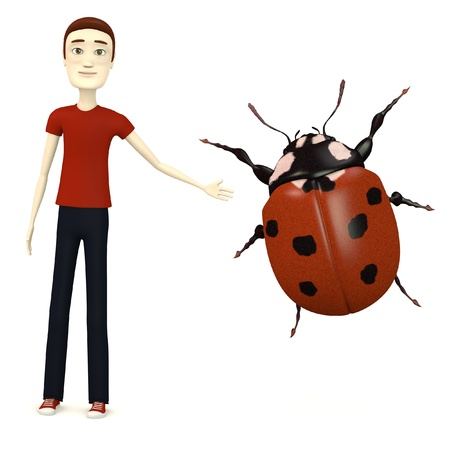 3d weird: 3d render of cartoon character with ladybug