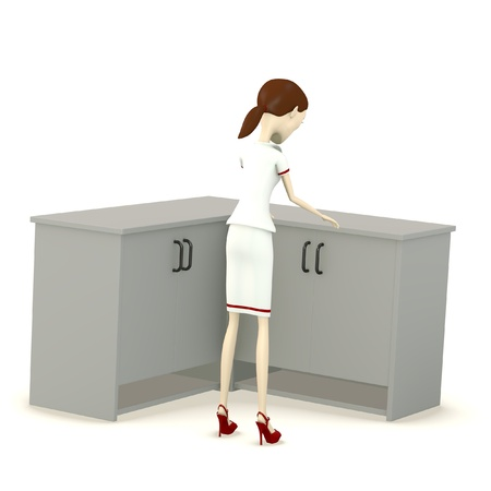 3d render of cartoon character with cupboard photo