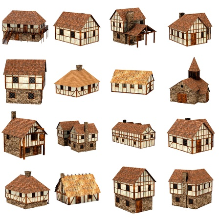collection of medieval houses - 3d Stock Photo