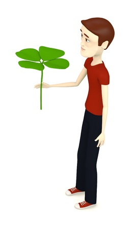 3d render of cartoon character with 4-clover Stock Photo - 18448384