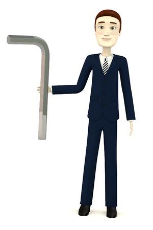figourine: 3d render of cartoon character with allen key