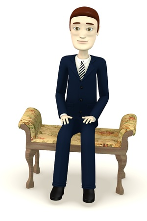 figourine: 3d render of cartoon character on old sofa