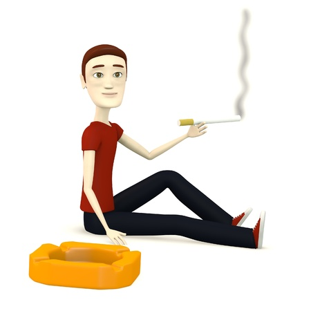 figourine: 3d render of cartoon character with ashtray and cigarette Stock Photo