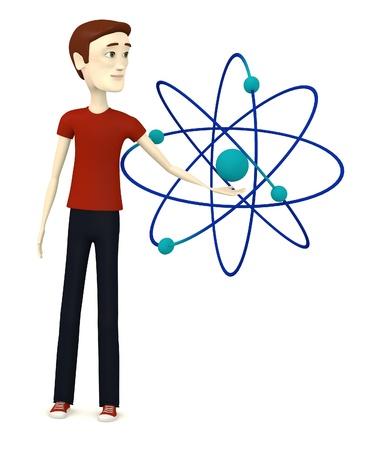cartoon atom: 3d render of cartoon character with atom Stock Photo