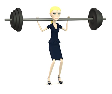 excercise: 3d render of cartoon character with barbell Stock Photo