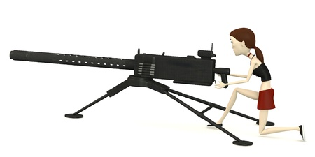 browning: 3d render of cartoon character with gun