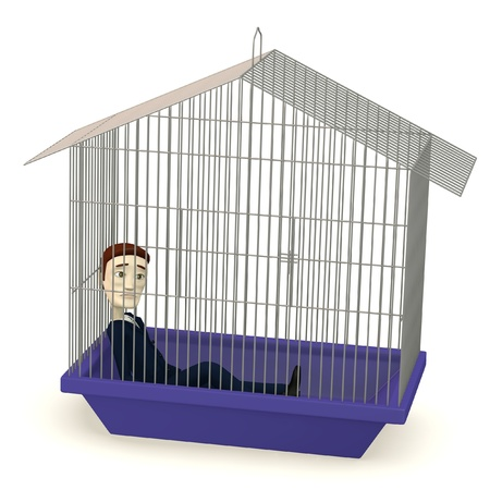 3d render of cartoon businessman in cage photo