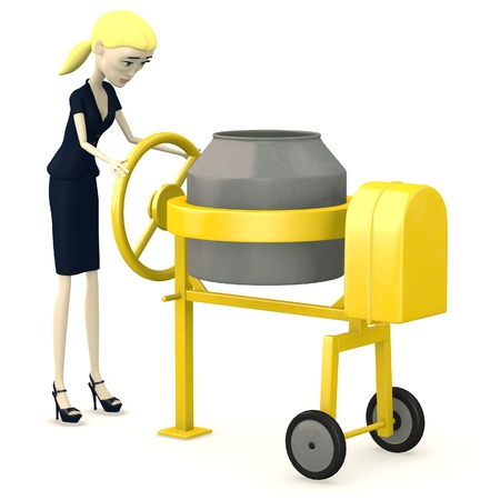 bender: 3d render of cartoon character with cement mixer Stock Photo