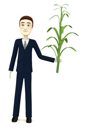 corn stalk: 3d render of cartoon character with corn stalk