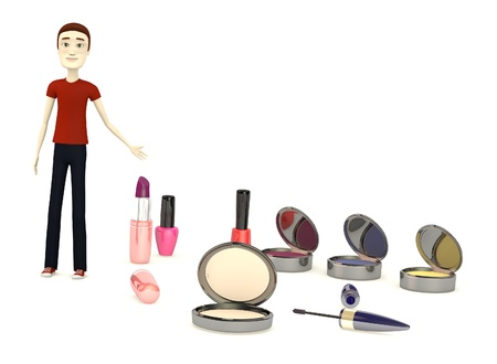 3d render of cartoon character with cosmetics photo
