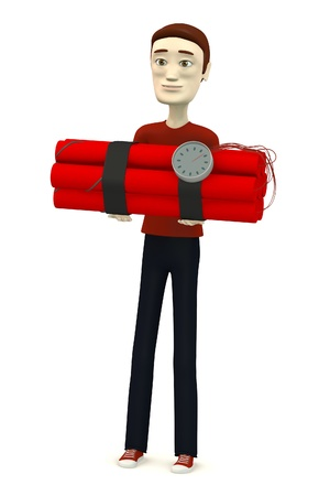 3d render of cartoon character with dynamite Stock Photo - 18448401