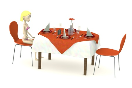 3d render of cartoon character sits on restaurant photo